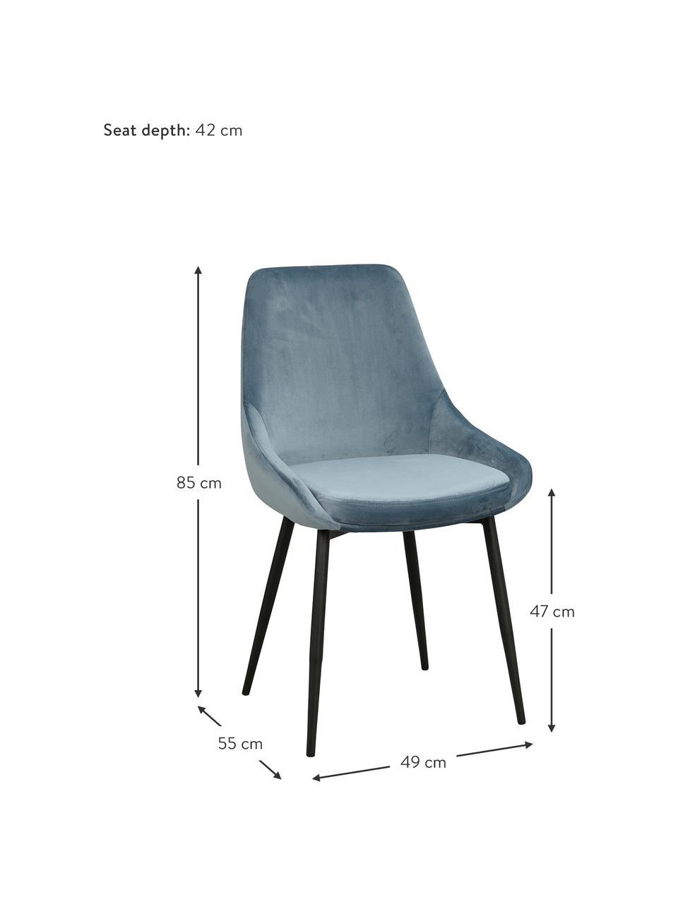 Chaise rembourrée en velours Sierra, 2pièces, Bleu, noir