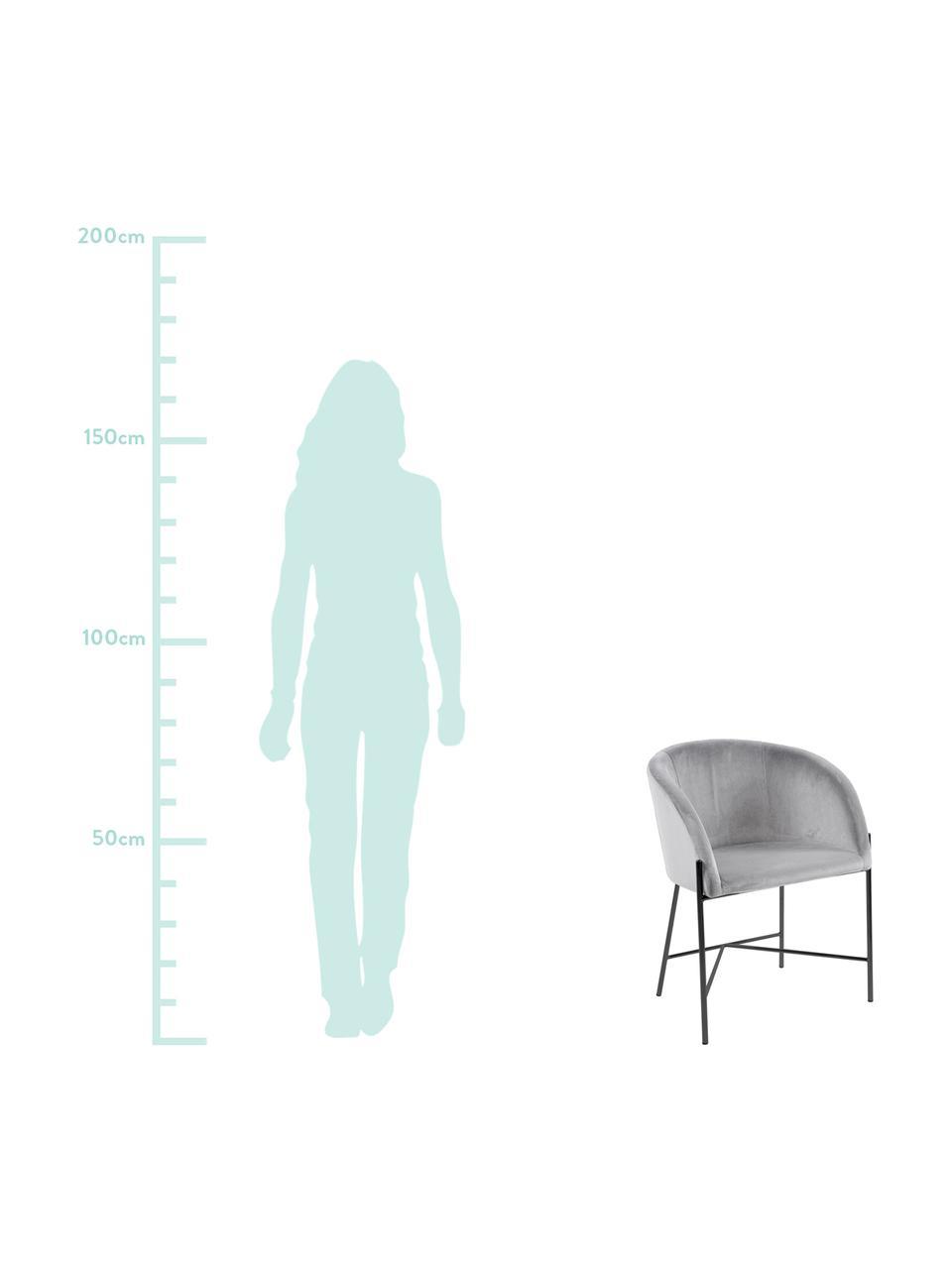 Krzesło tapicerowane z aksamitu Nelson, Tapicerka: aksamit poliestrowy Dzięk, Nogi: metal lakierowany, Szary, czarny, S 56 x G 55 cm