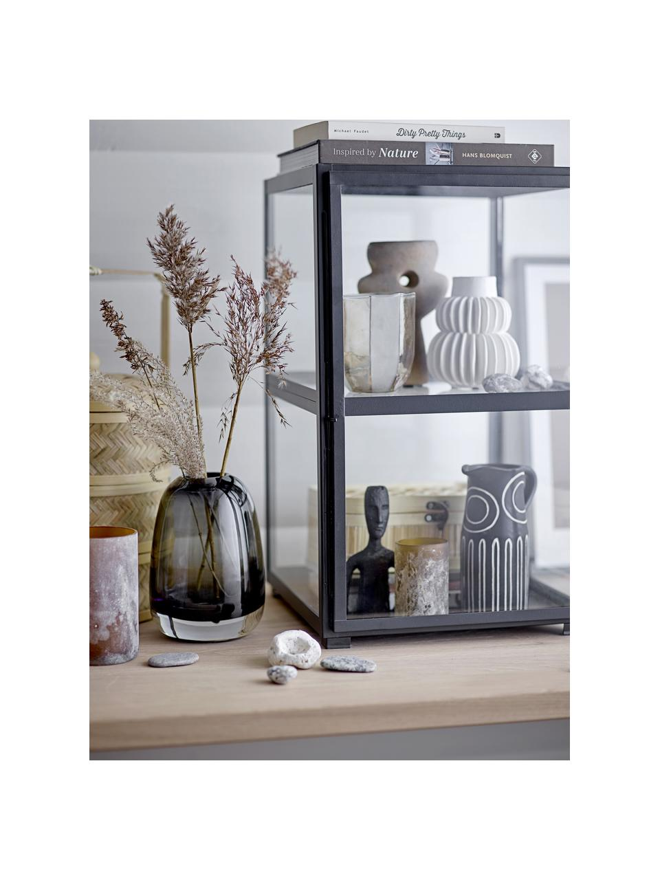 Glazen vaas Adjo in grijs, Glas, Grijs, Ø 13 x H 18 cm