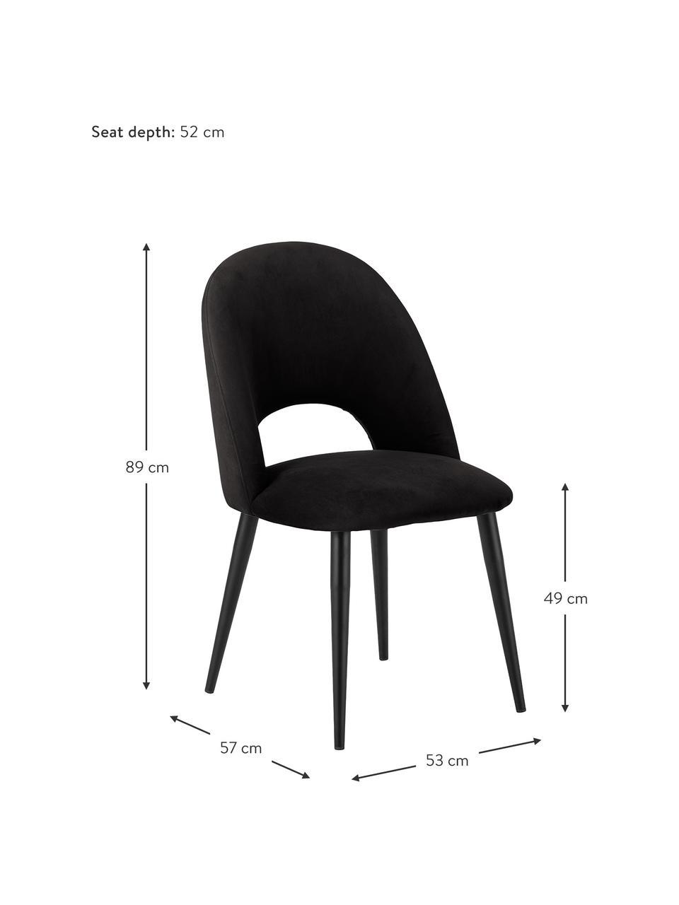 Sedia imbottita in tessuto nero Rachel, Rivestimento: velluto (poliestere) Il r, Gambe: metallo verniciato a polv, Velluto nero, Larg. 53 x Prof. 57 cm