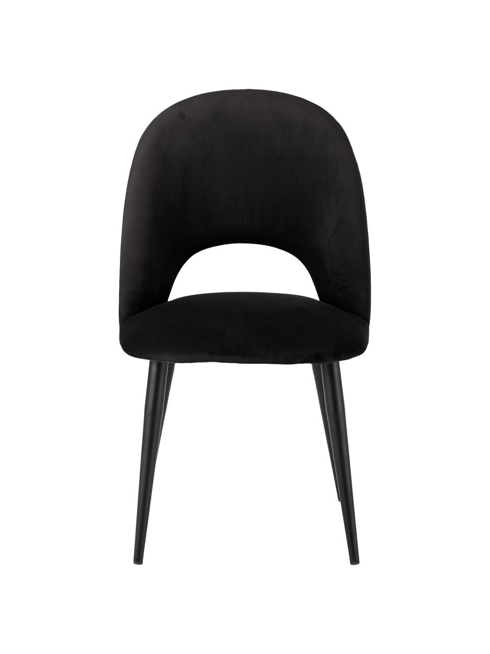 Chaise rembourrée noir Rachel, Velours noir