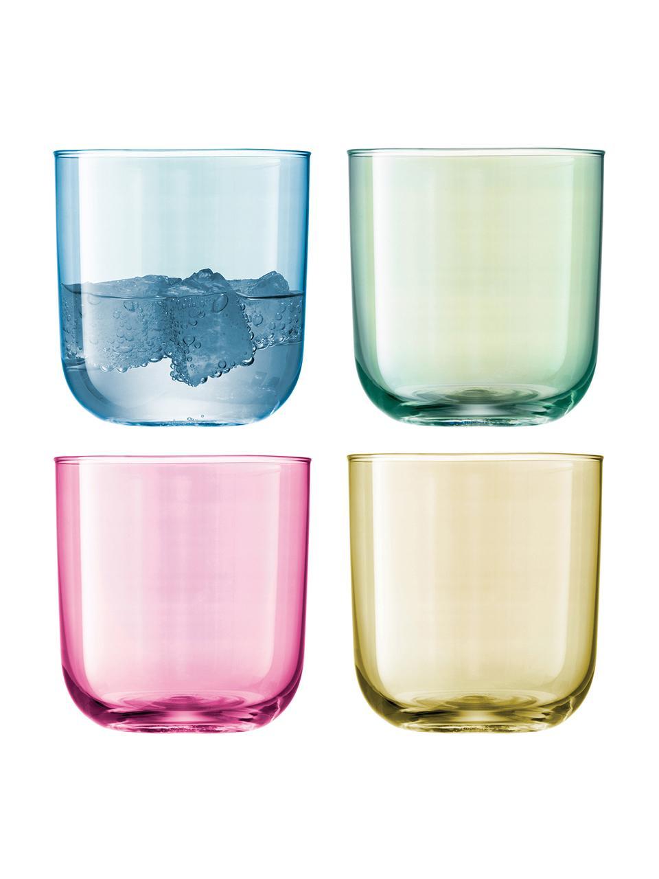 Set 4 bicchieri acqua dipinti a mano Polka, Vetro, Blu, verde, rosa, giallo, Ø 9 x Alt. 9 cm