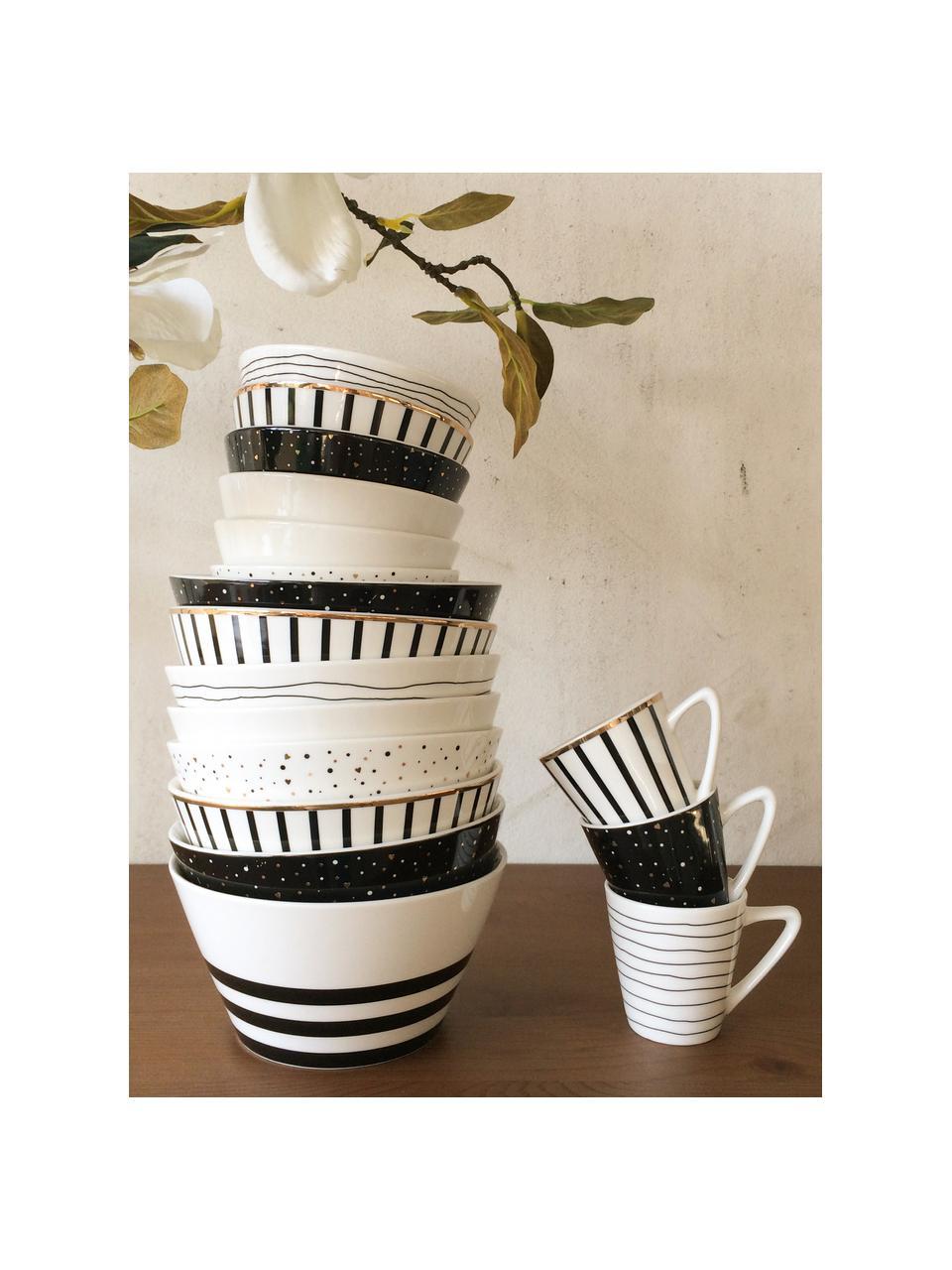 Filiżanka do espresso Eris Loft, 4 szt., Porcelana, Biały, czarny, Ø 6 x W 6 cm