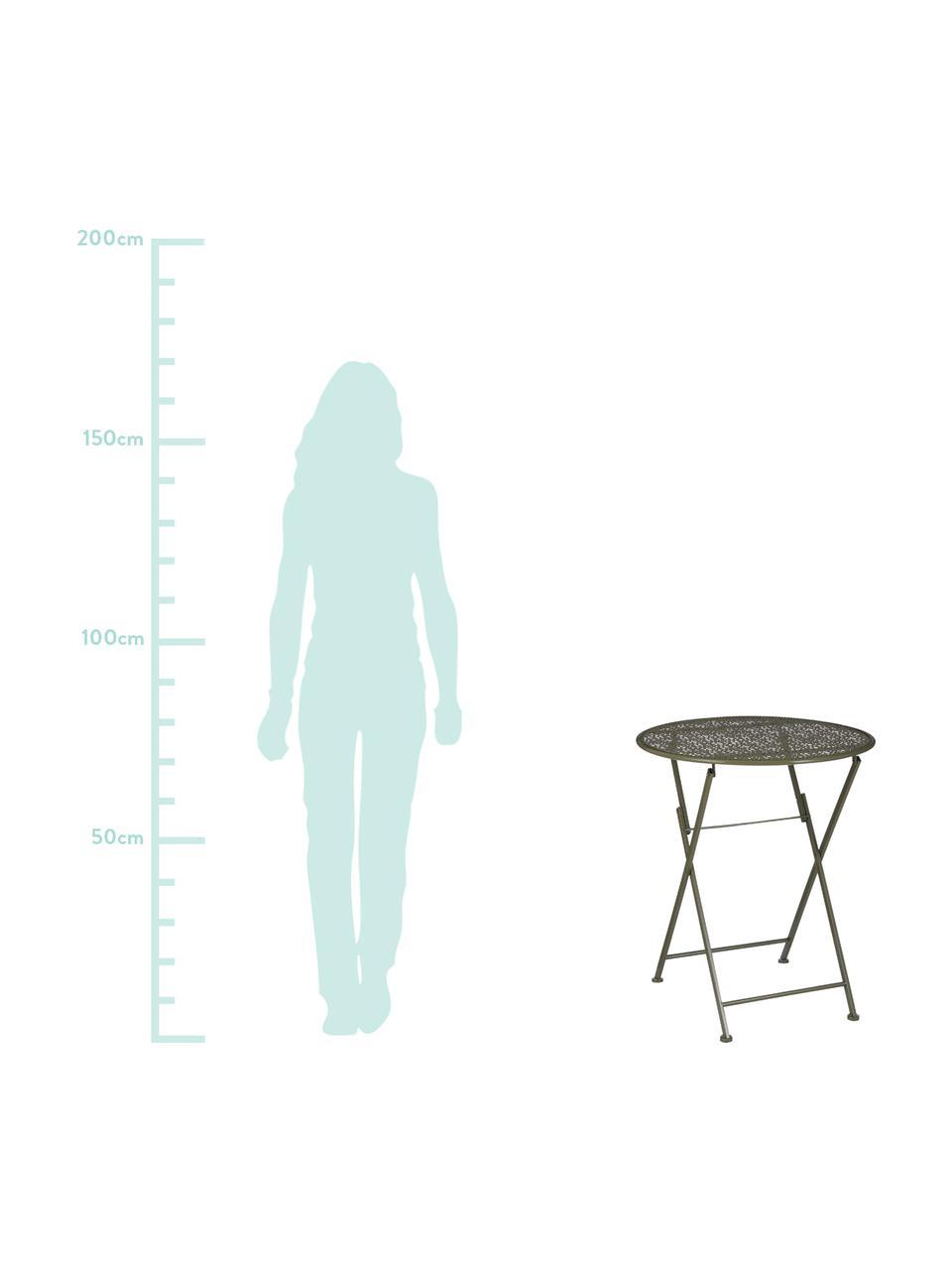 Składany stolik balkonowy Ninet, Metal powlekany, Zielony, Ø 60 x W 70 cm