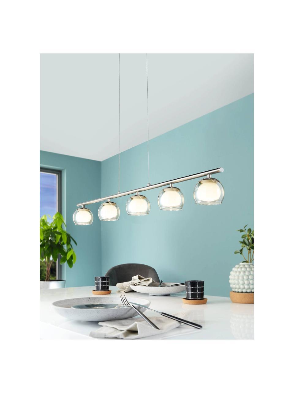 Lampada a sospensione a LED in vetro Romagnese, Paralume: vetro, Baldacchino: acciaio satinato, Argentato, trasparente, Larg. 90 x Alt. 110 cm