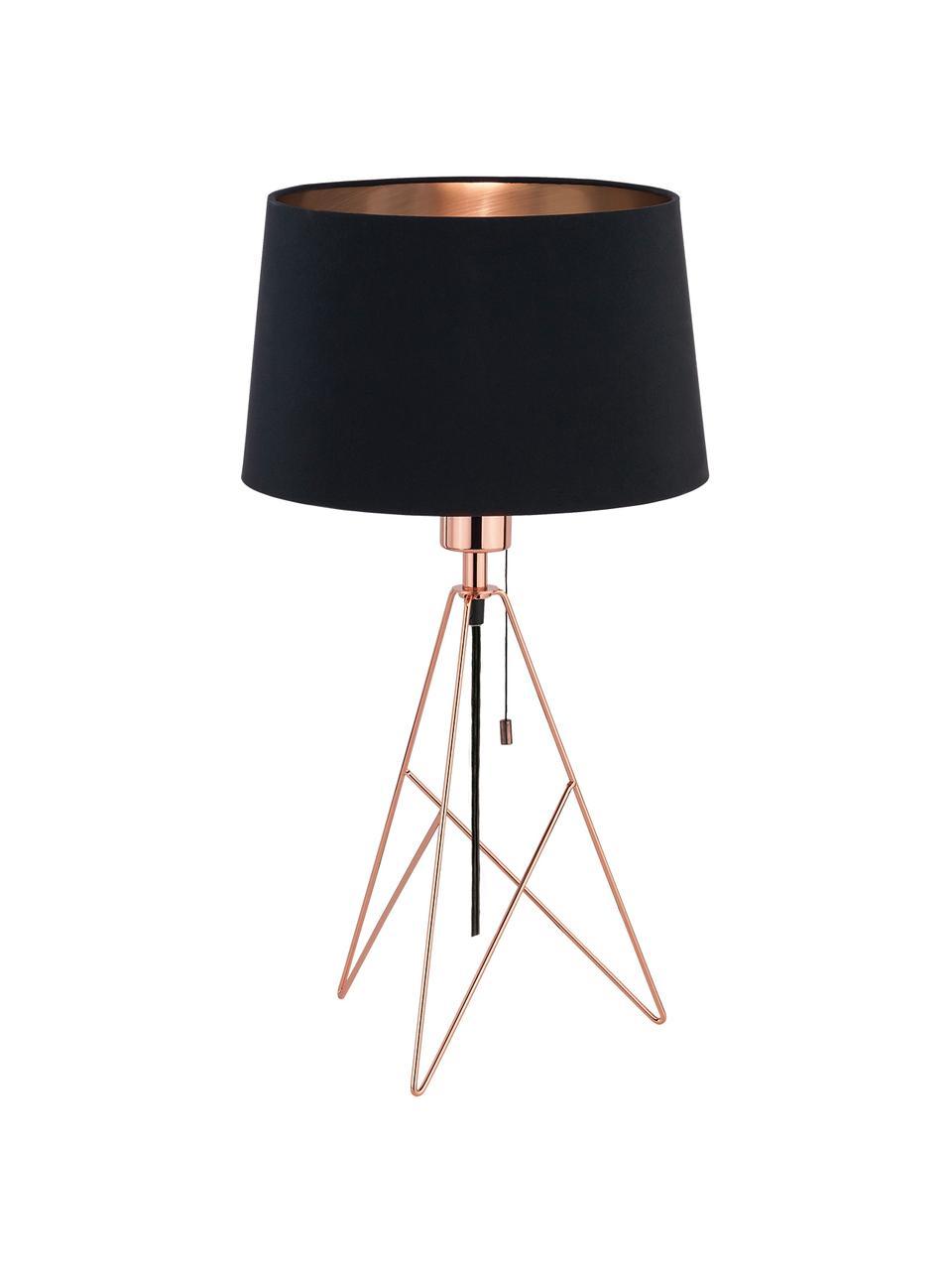 Lampada da tavolo nera in rame Camporale, Base della lampada: acciaio, verniciato, Nero, colori rame, Ø 30 x Alt. 56 cm