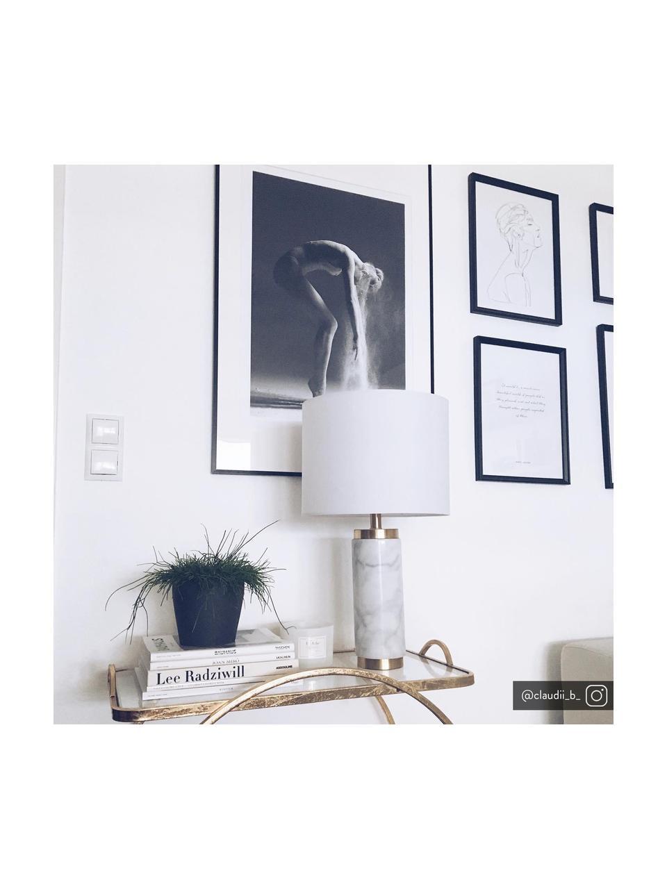 Lampa stołowa z marmurową podstawą Miranda, Biały, odcienie mosiądzu, Ø 28 x W 48 cm