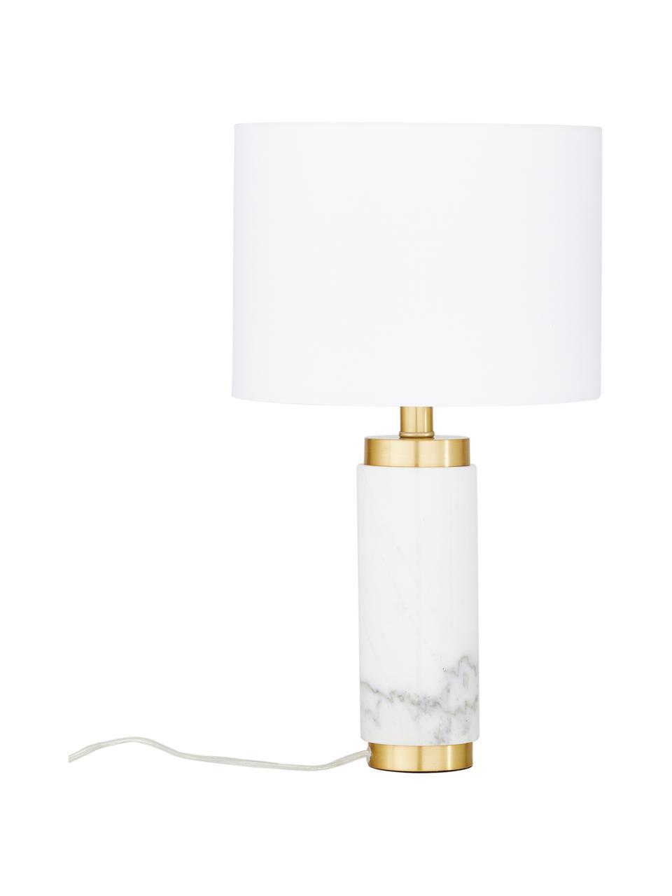 Lampa stołowa z marmurową podstawą w stylu glam Miranda, Biały, odcienie mosiądzu, Ø 28 x W 48 cm