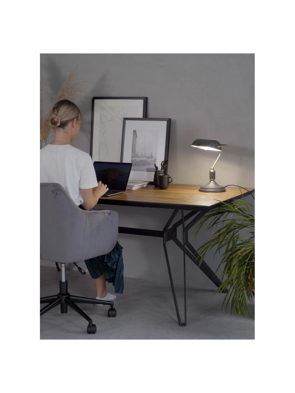 Lampa biurkowa z metalu w stylu retro Bank, Antracytowy, odcienie mosiądzu, S 22 x W 34 cm