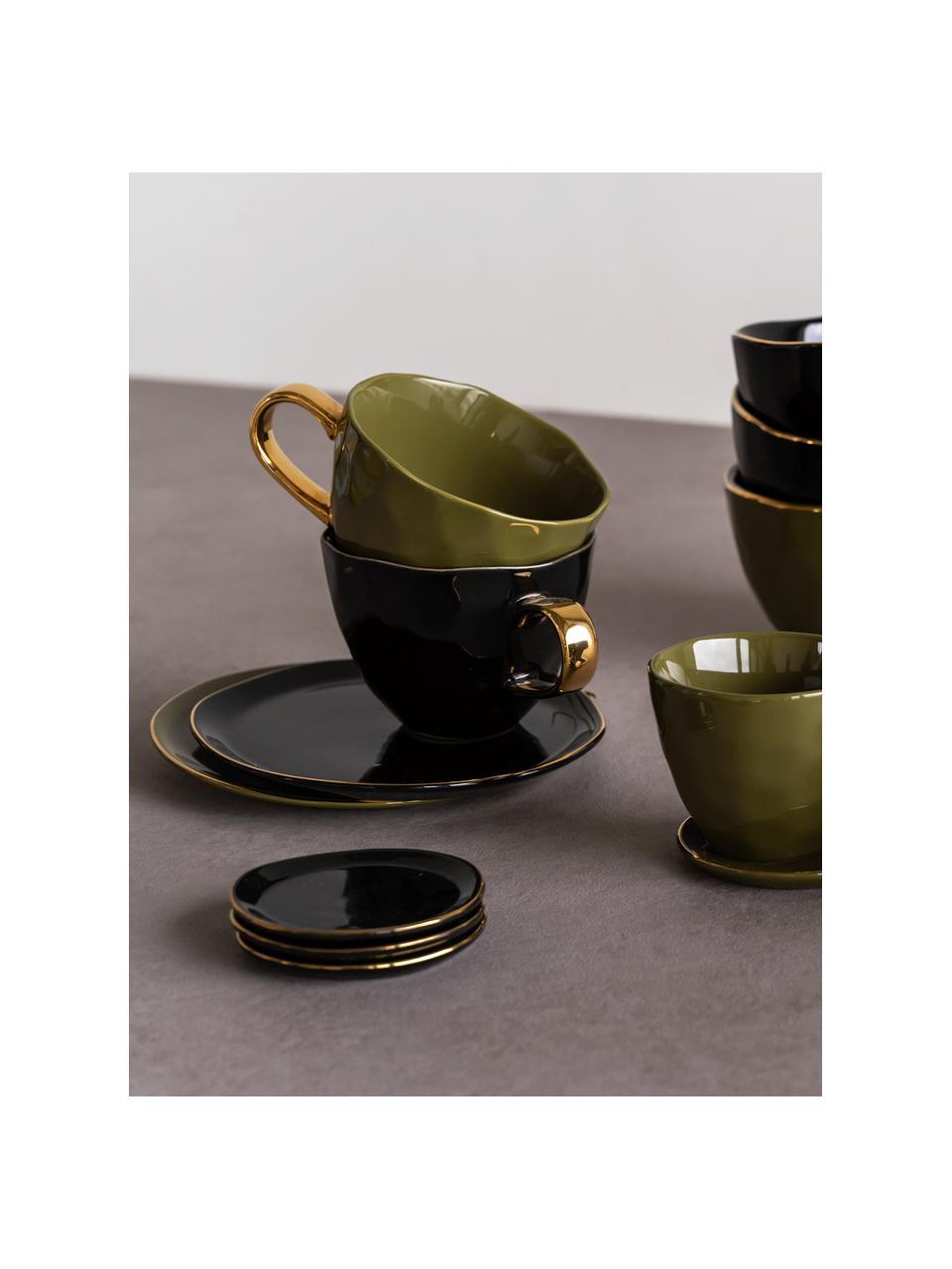 Untertassen Good Morning in Schwarz mit goldfarbenem Rand, Ø 9 cm, 2 Stück, Steingut, Schwarz, Goldfarben, Ø 9 cm