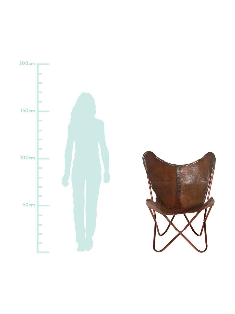 Poltrona in pelle Butterfly, Rivestimento: pelle bovina, Struttura: metallo verniciato, Marrone, Larg. 80 x Alt. 87 cm