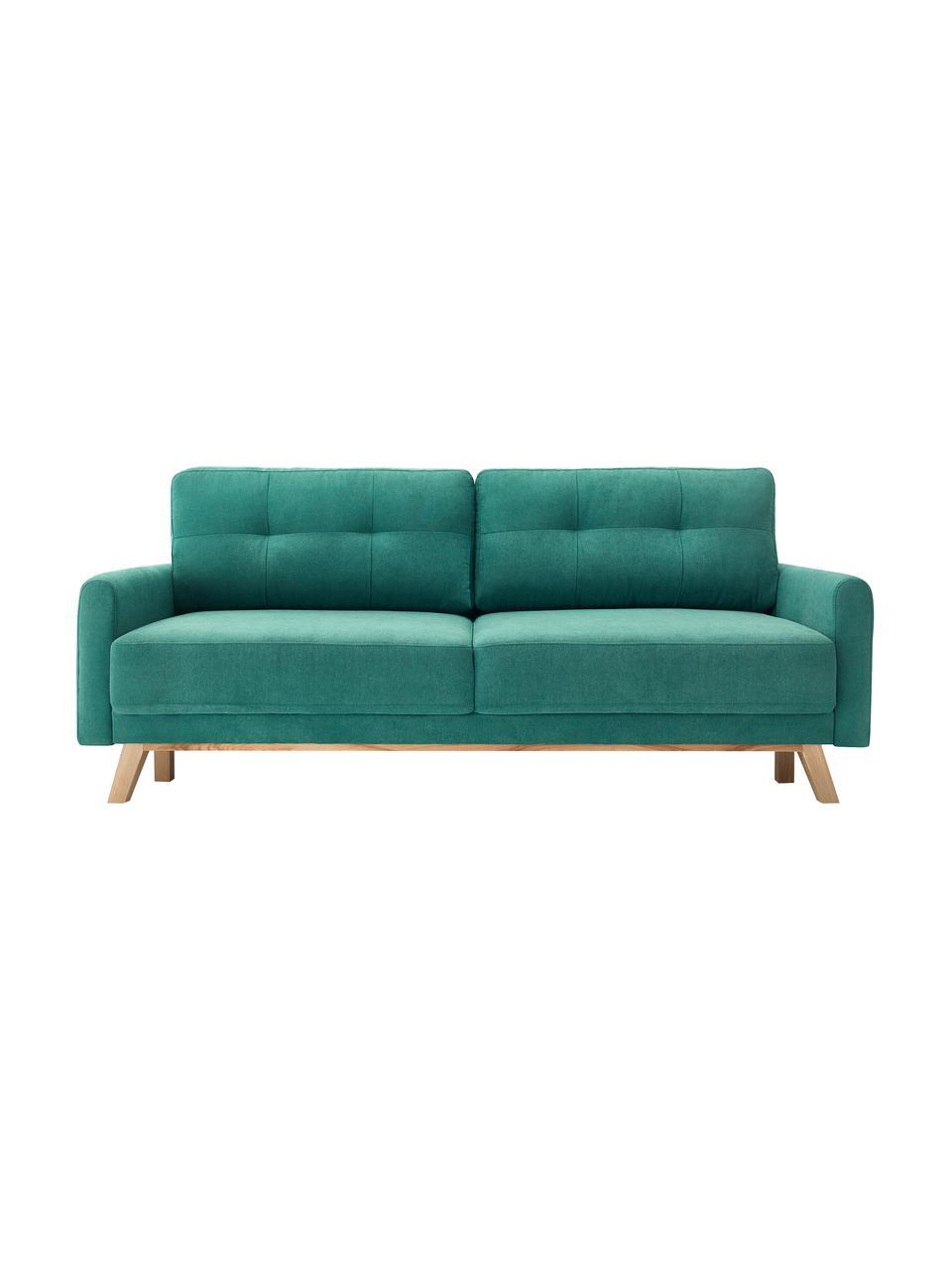 Sofa rozkładana z aksamitu z miejscem do przechowywani Balio (3-osobowa), Tapicerka: 100% aksamit poliestrowy , Nogi: drewno naturalne, Szmaragdowy, S 216 x G 102 cm
