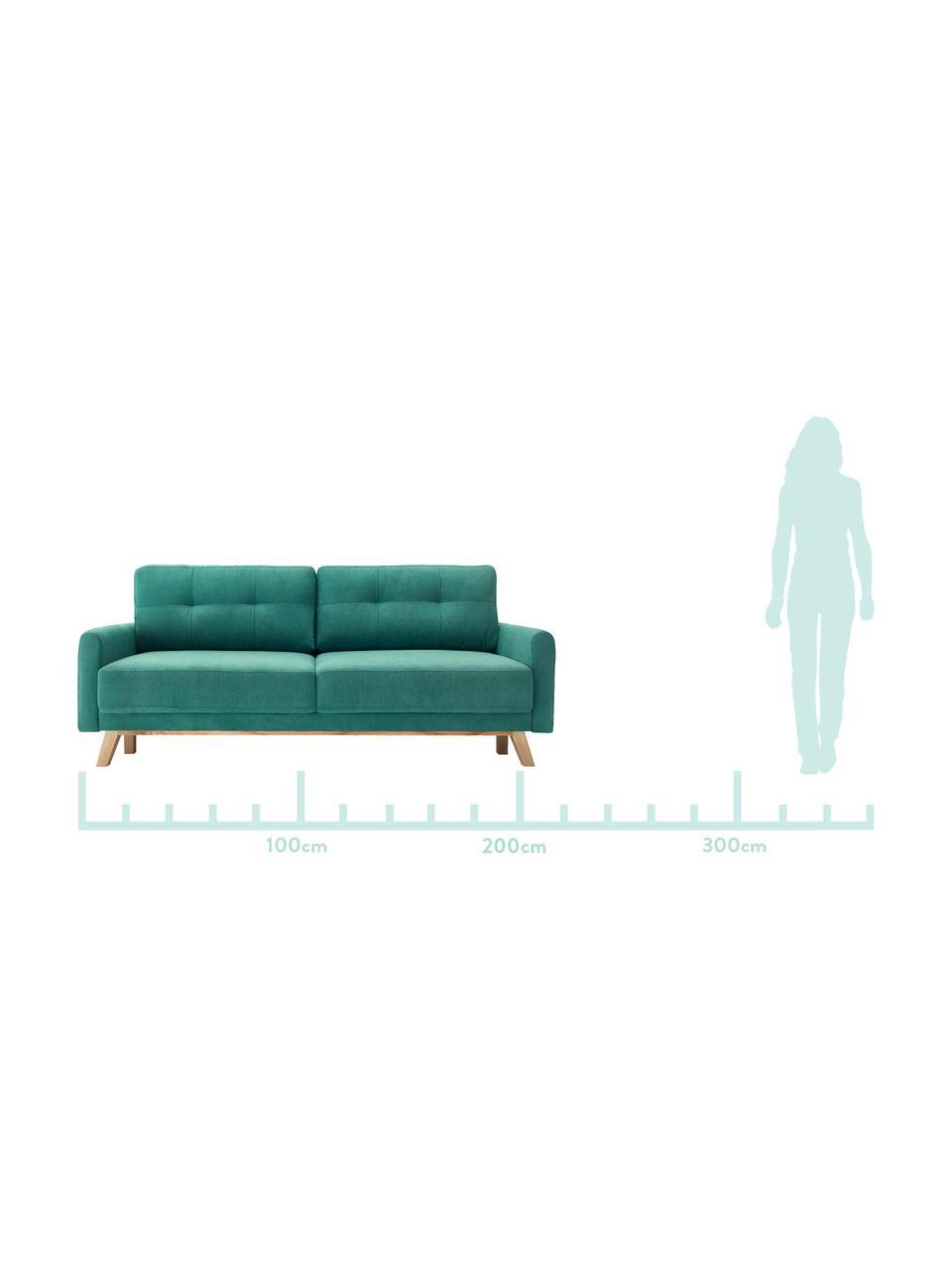 Divano letto 3 posti in verde smeraldo con contenitore Balio, Rivestimento: 100% velluto di poliester, Piedini: Legno, Verde smeraldo, Larg. 216 x Alt. 102 cm