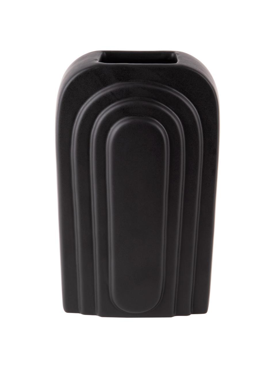 Wazon z ceramiki Artic, Ceramika, Czarny, S 17 x W 27 cm