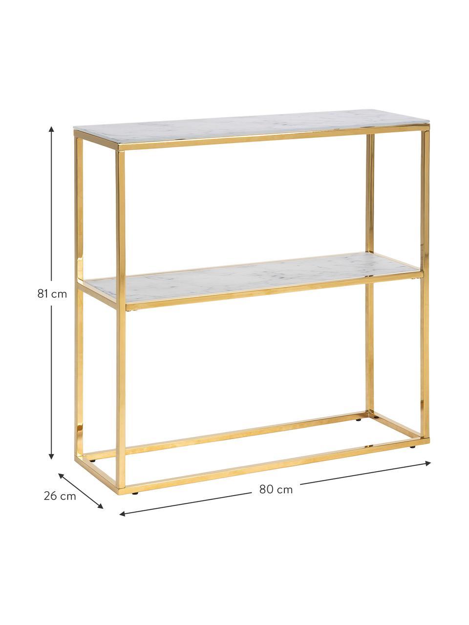 Metall-Regal Aruba mit Marmor-Optik, Tischplatte: Glas, Gestell: Metall, foliert, Weiß, Goldfarben, 80 x 81 cm