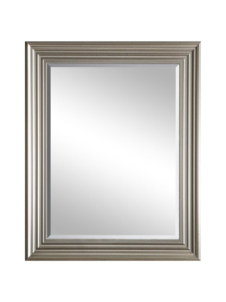 Eckiger Wandspiegel Haylen mit silbernem Kunststoffrahmen, Rahmen: Kunststoff, Spiegelfläche: Spiegelglas, Silberfarben, 64 x 79 cm