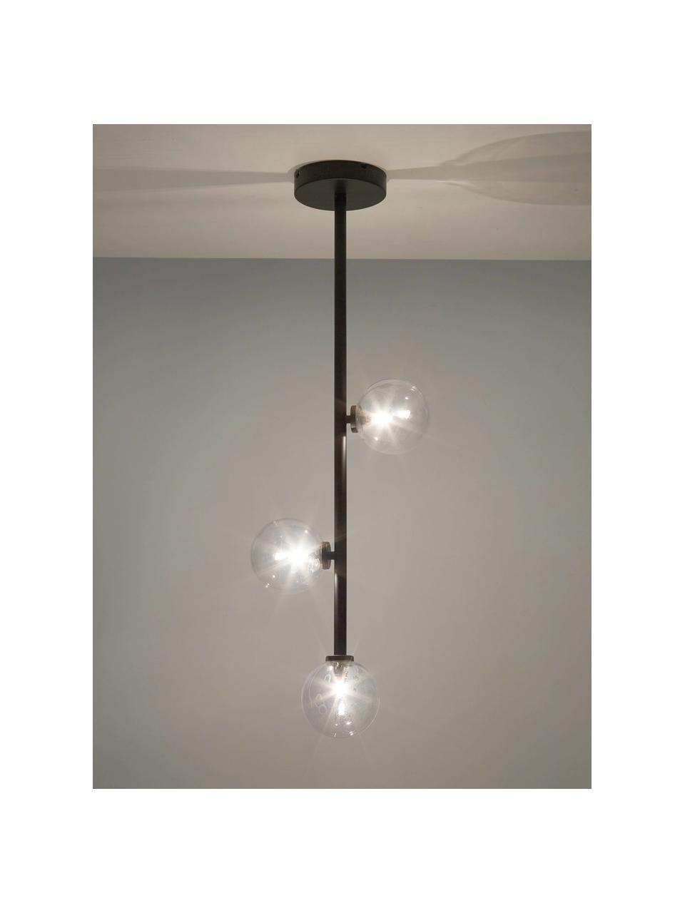 Lampa wisząca ze szkła Emily, Czarny, S 26 x W 90 cm