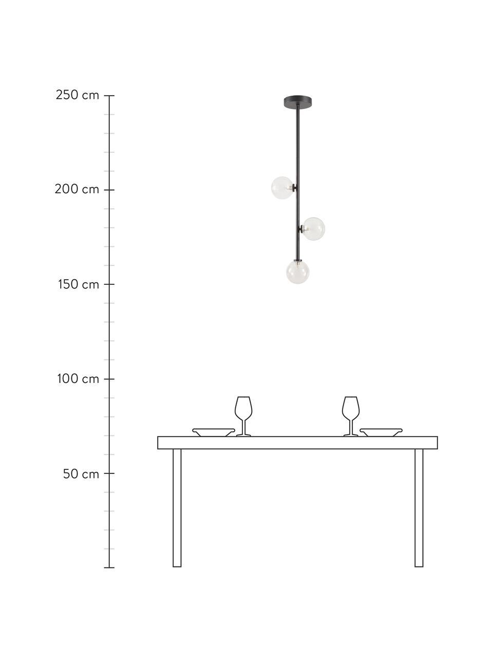 Hanglamp Emily van glas, Baldakijn: gepoedercoat metaal, Zwart, 26 x 90 cm