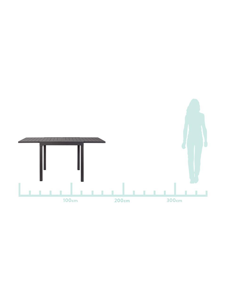 Tavolo da giardino allungabile Pelagius, Alluminio verniciato a polvere, Antracite, Larg. 83 a 166 x Prof. 80 cm