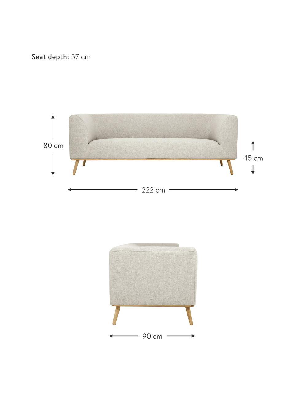 Sofa Archie (3-Sitzer) in Beige mit Eichenholz-Füße, Bezug: 100% Wolle 30.000 Scheuer, Gestell: Kiefernholz, Füße: Massives Eichenholz, geöl, Webstoff Beige, B 222 x T 90 cm