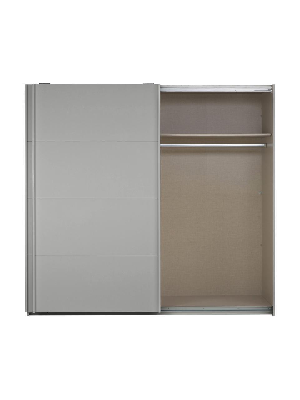 Kleiderschrank Mia mit 2 Schiebetüren in Grau, Holzwerkstoff, beschichtet, Grau, 225 x 210 cm