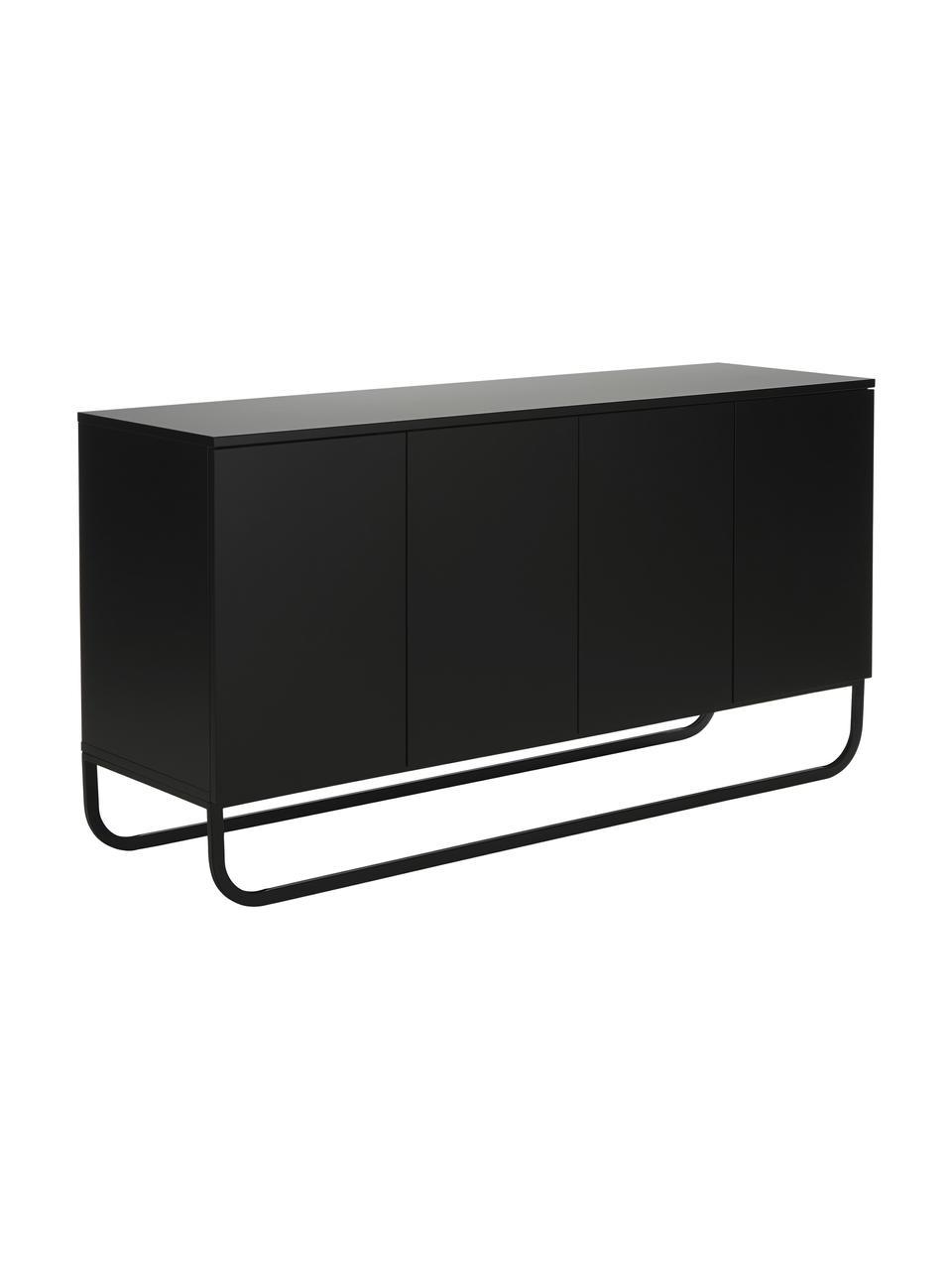 Klassiek dressoir Sanford in zwart met deuren, Frame: gelakt MDF, Poten: gepoedercoat metaal, Zwart, 160 x 83 cm