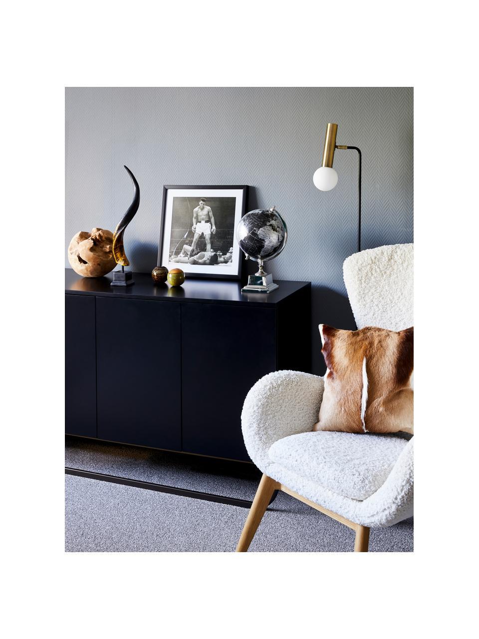Klassisches Sideboard Sanford in Schwarz mit Türen, Korpus: Mitteldichte Holzfaserpla, Fußgestell: Metall, pulverbeschichtet, Schwarz, 160 x 83 cm