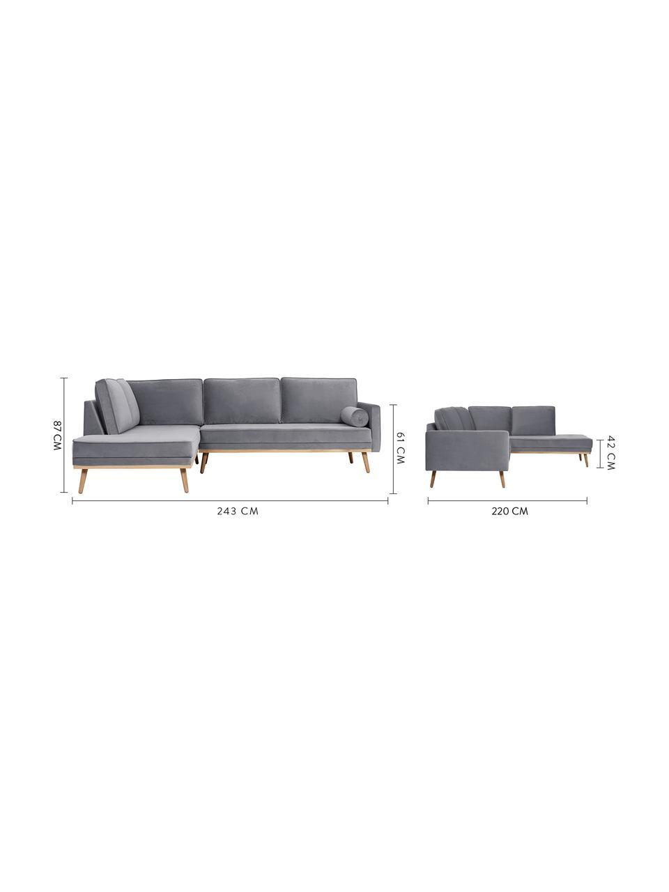 Sofa narożna z aksamitu z nogami z drewna dębowego Saint (3-osobowa), Tapicerka: aksamit (poliester) Dzięk, Aksamitny szary, S 243 x G 220 cm