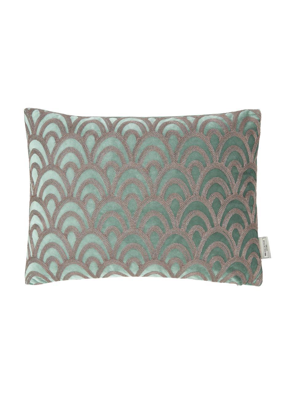Samt-Kissen Trole mit glänzender Stickerei, mit Inlett, 100% Samt (Polyester), Grün, Silberfarben, 40 x 55 cm