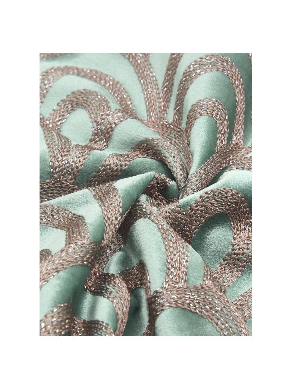 Coussin rectangulaire velours brodé Trole, Turquoise, couleur argentée
