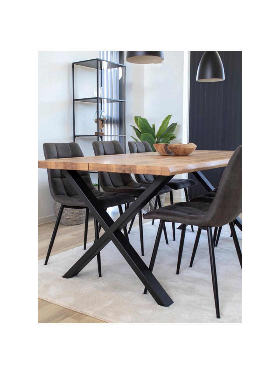 Krzesło tapicerowane z aksamitu Middleton, Tapicerka: aksamit Dzięki tkaninie w, Nogi: metal lakierowany, Szary, S 55 x G 44 cm