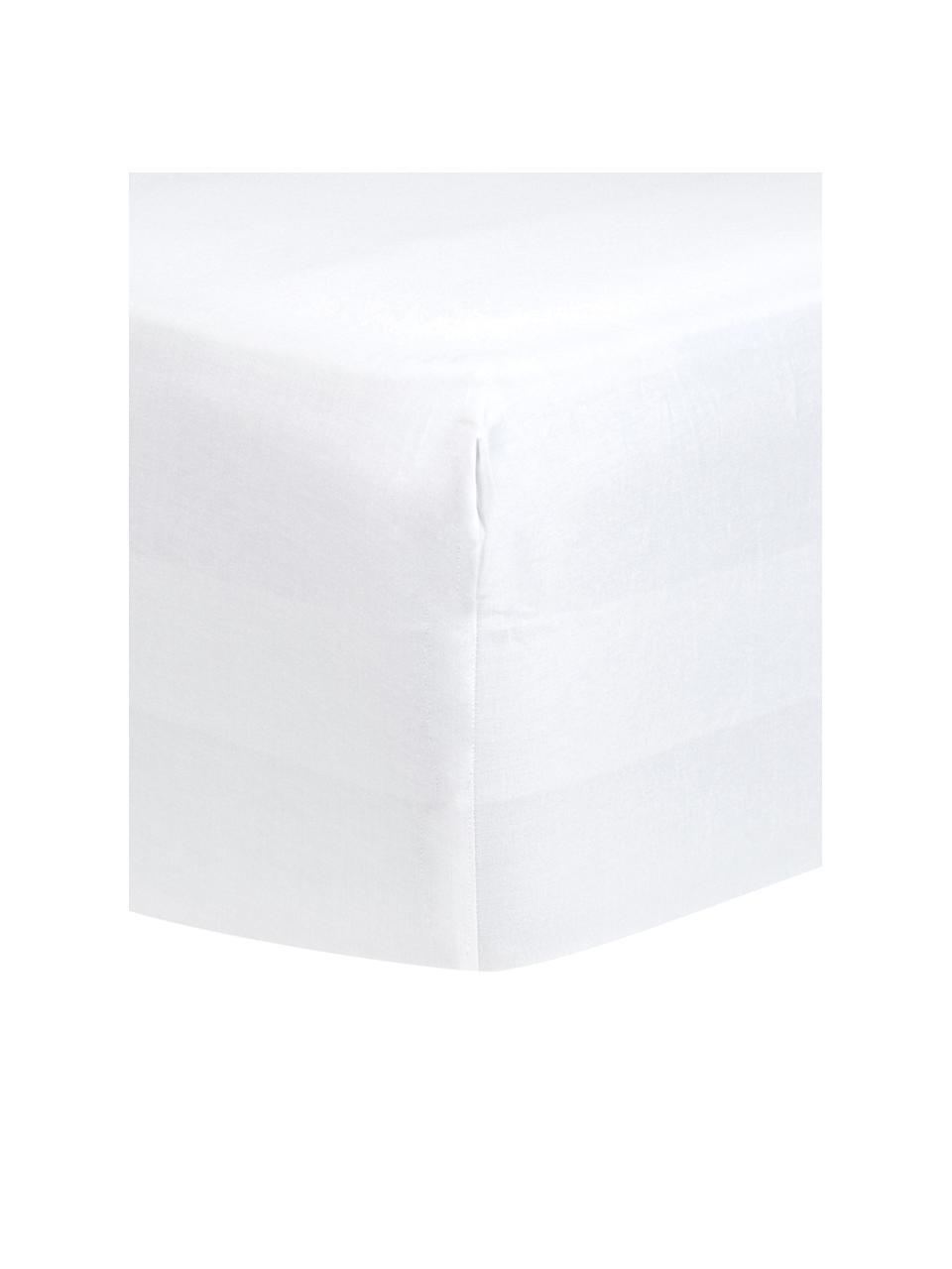 Lenzuolo con angoli in raso di cotone bianco Comfort, Bianco, Larg. 180 x Lung. 200 cm