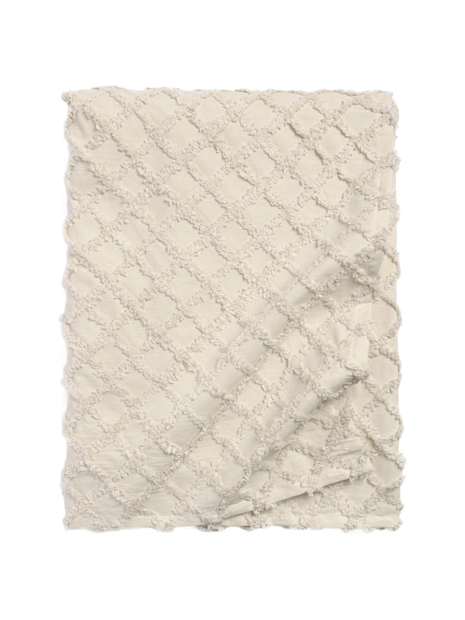 Bedsprei Royal met hoog-laag patroon, Katoen, Crèmewit, bruin, 240 x 260 cm