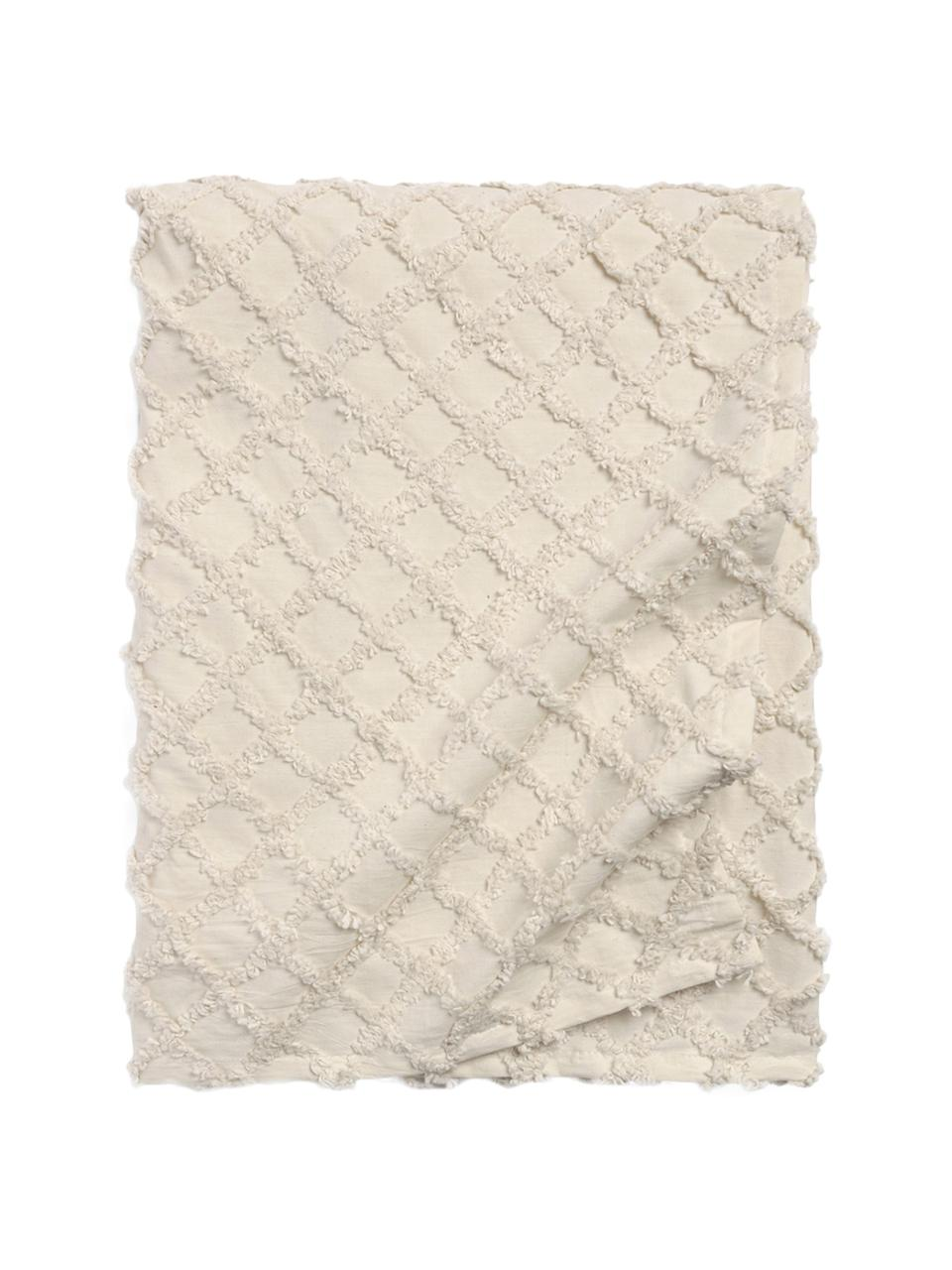 Copriletto in cotone con modello a rilievo Royal, Cotone, Bianco crema, Larg. 240 x Lung. 260 cm