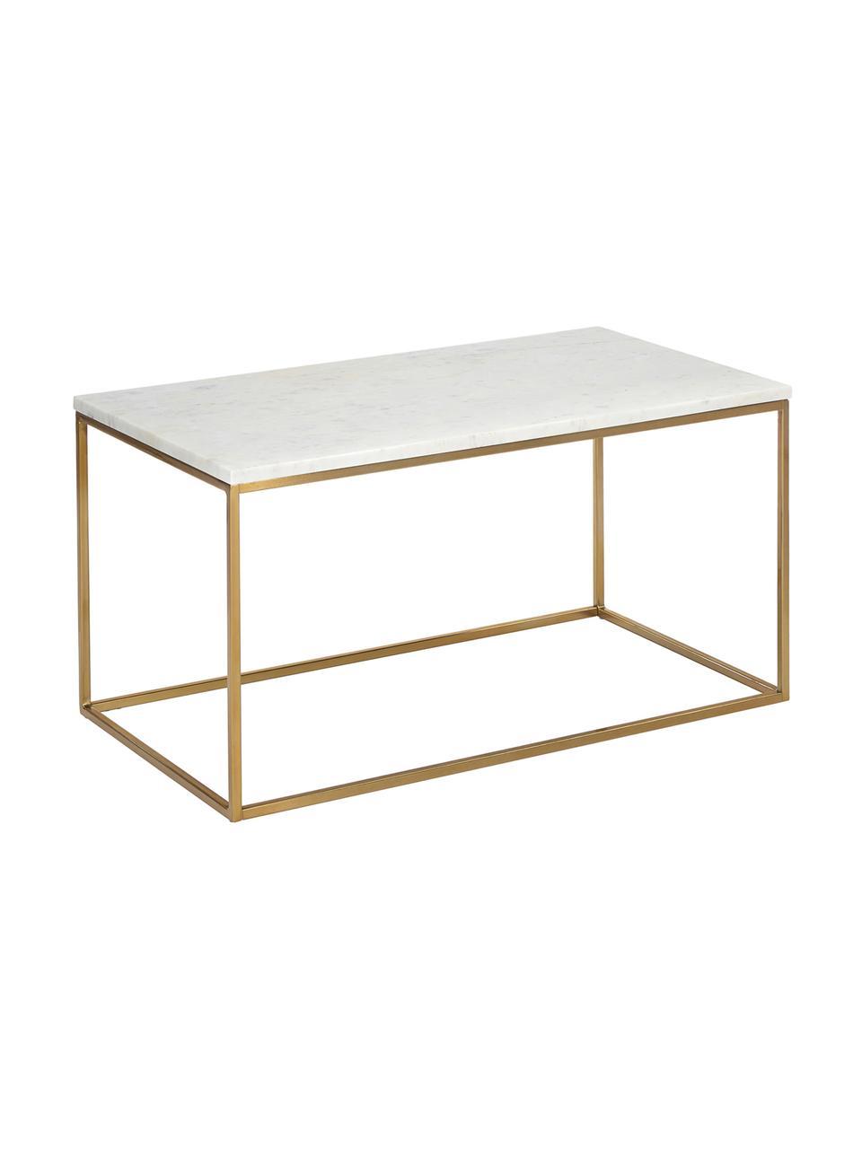 Mesa de centro de mármol Alys, Tablero: mármol natural, Estructura: metal con pintura en polv, Mármol blanco, dorado, An 80 x Al 40 cm