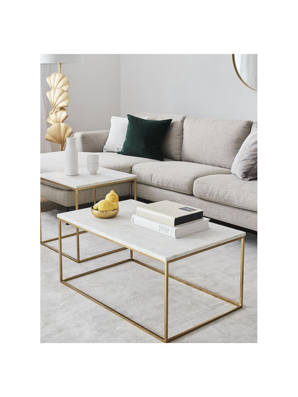 Marmor-Couchtisch Alys, Tischplatte: Marmor, Gestell: Metall, pulverbeschichtet, Weißer Marmor, Goldfarben, 80 x 40 cm
