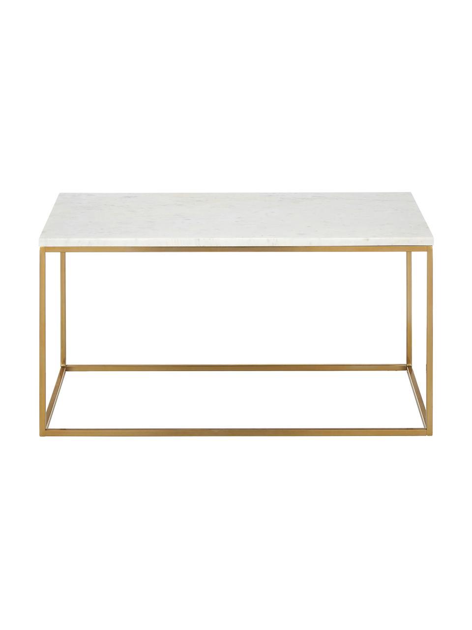 Mramorový konferenční stolek Alys, Deska stolu: bílošedý mramor Rám: lesklá zlatá