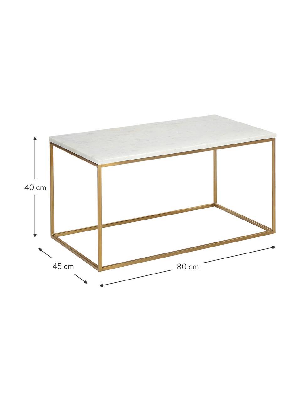 Marmeren salontafel Alys, Tafelblad: marmer, Frame: gepoedercoat metaal, Tafelblad: wit-grijs marmer. Frame: glanzend goudkleurig, 80 x 40 cm