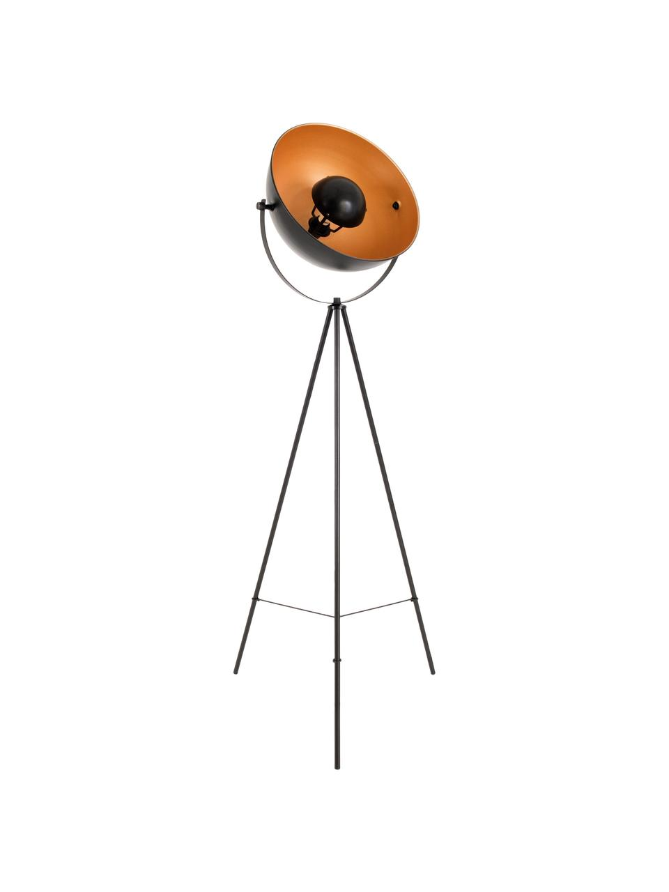 Tripod vloerlamp Bernice in goudkleur-zwart, Lampenkap: gecoat metaal, Lampvoet: gecoat metaal, Frame: zwart gelakt eikenhout. Voet: goudkleurig, 40 x 150 cm