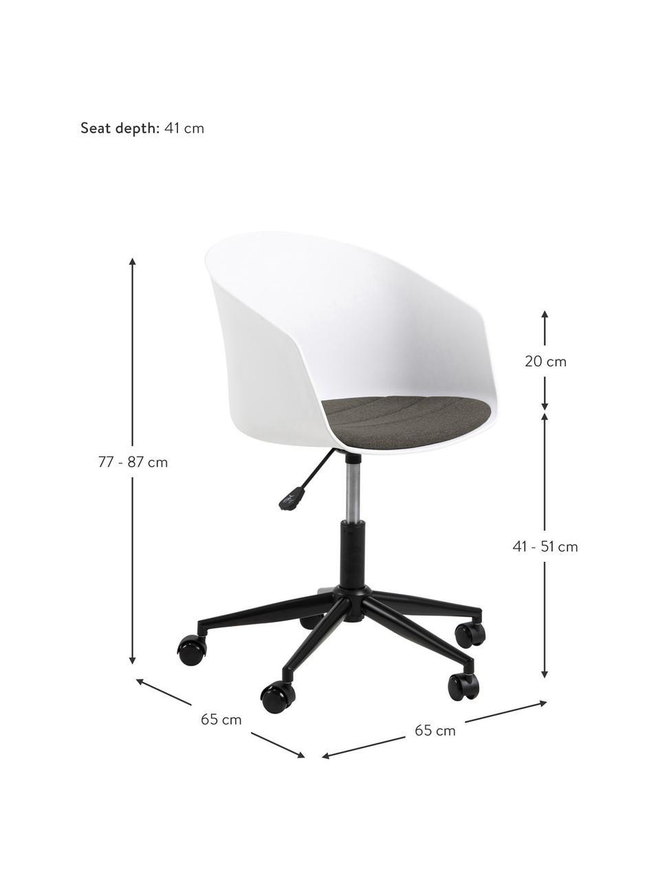 Krzesło biurowe Moon, obrotowe, Stelaż: metal malowany proszkowo, Biały, ciemny szary, czarny, S 65 x G 65 cm