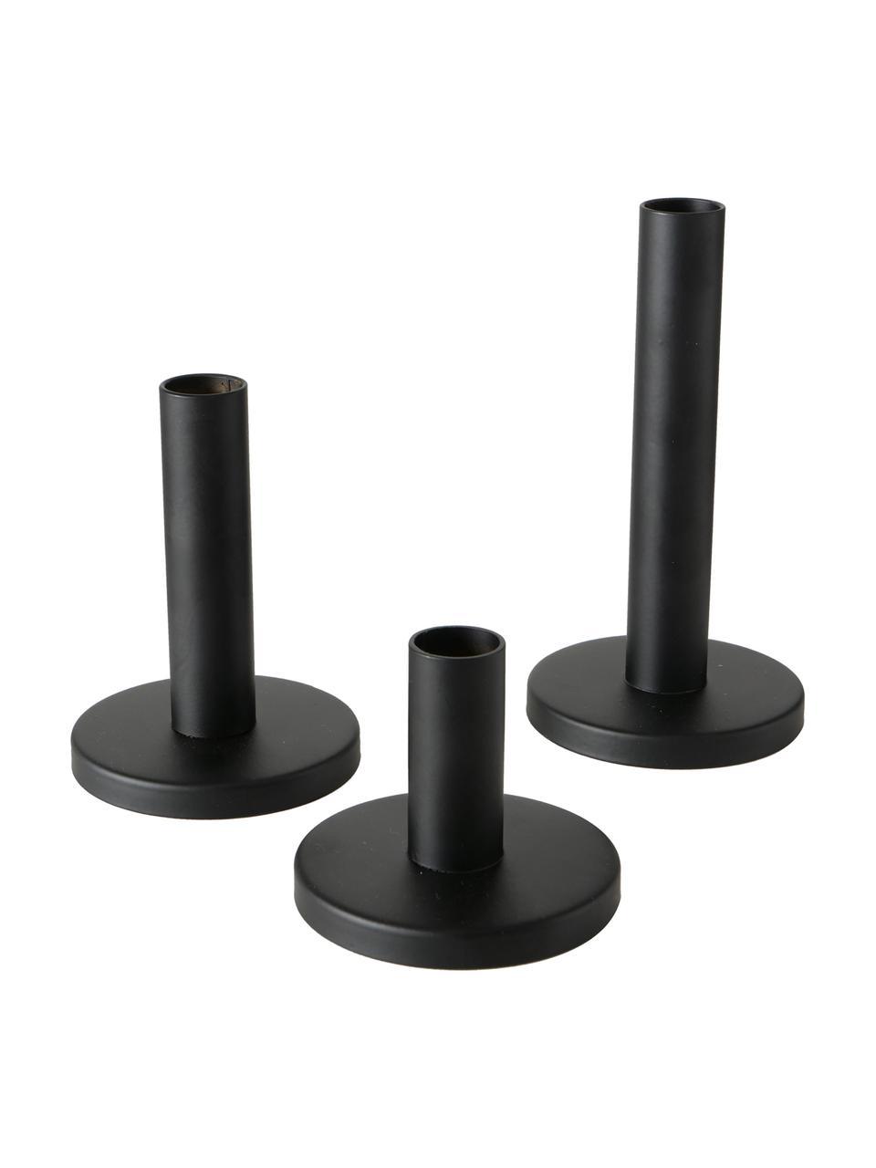 Komplet świeczników Malko, 3 elem., Metal powlekany, Czarny, Komplet z różnymi rozmiarami