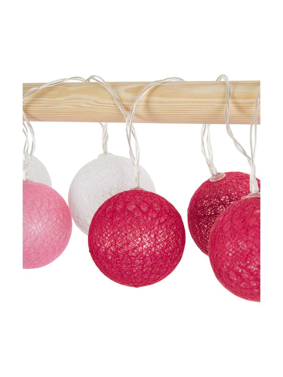 LED-Lichterkette Bellin, 320 cm, 20 Lampions, Lampions: Baumwolle, Pink, Dunkelrot, Weiß, L 320 cm