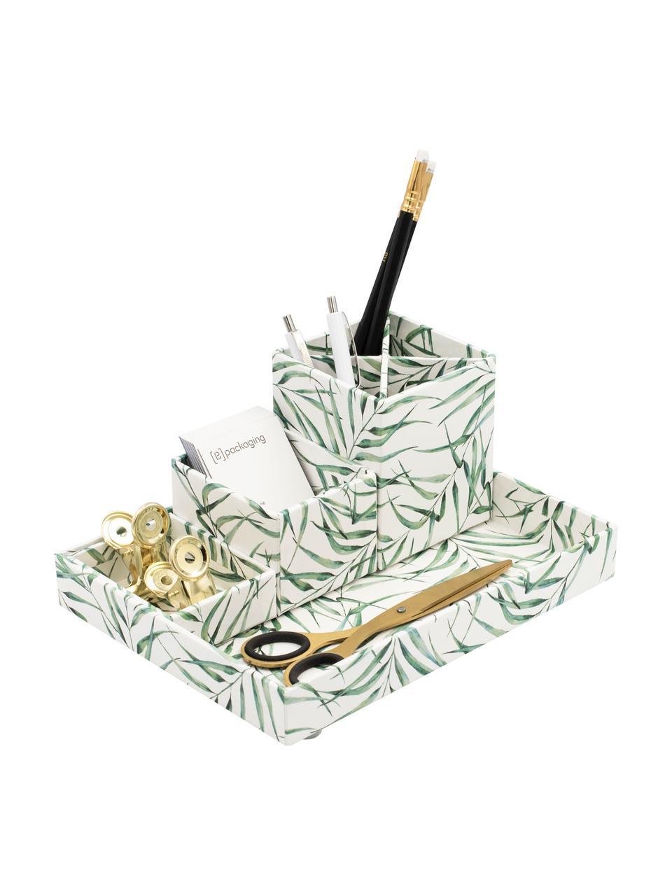 Organizer da ufficio Leaf, Solido, cartone laminato, Bianco, verde, Set in varie misure