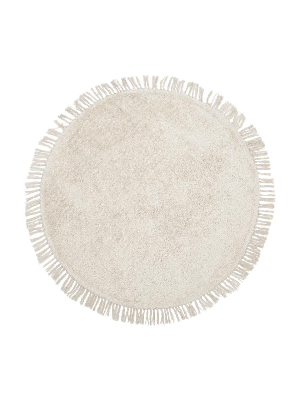 Runder Baumwollteppich Daya mit Fransen, handgetuftet, 100% Baumwolle, Beige, Ø 110 cm (Größe S)