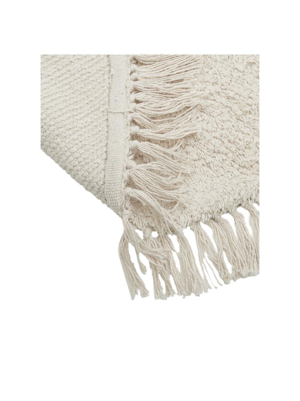 Okrągły ręcznie tuftowany dywan z bawełny z frędzlami Daya, 100% bawełna, Beżowy, Ø 110 cm (Rozmiar S)