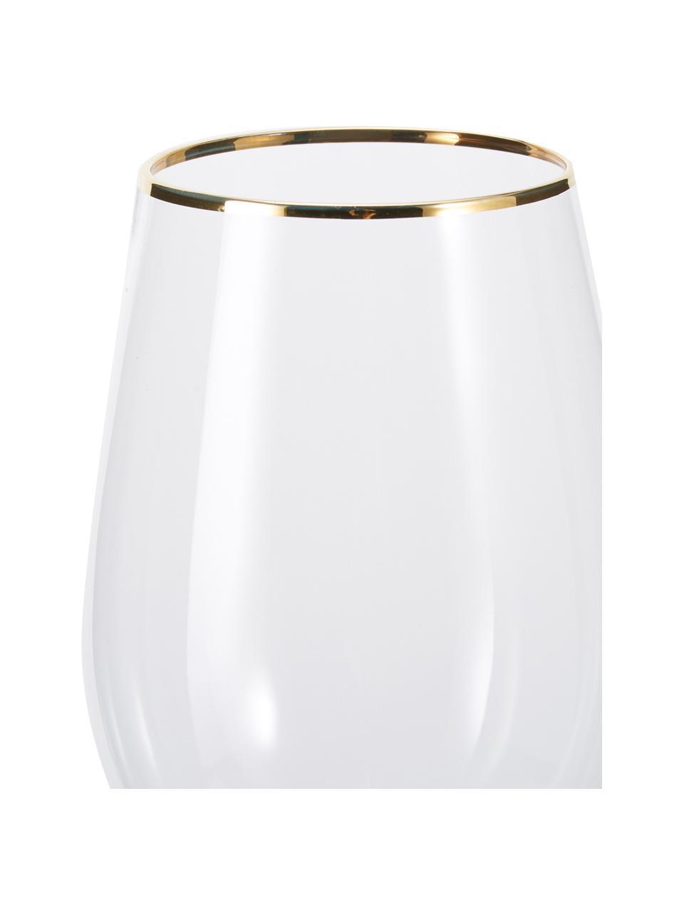Wijnglazen Chloe in transparant met Goldrand, 4er-set, Glas, Transparant, Ø 9 x H 26 cm