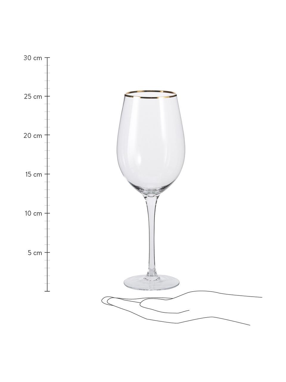 Weingläser Chloe in Transparent mit Goldrand, 4 Stück, Glas, Transparent, Ø 9 x H 26 cm