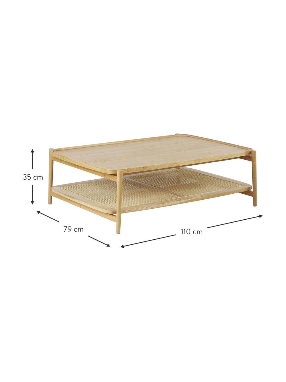 Tavolino da salotto in legno di quercia con intreccio viennese Libby, Ripiano: rattan, Struttura: legno massiccio di querci, Legno di quercia, Larg. 110 x Alt. 35 cm