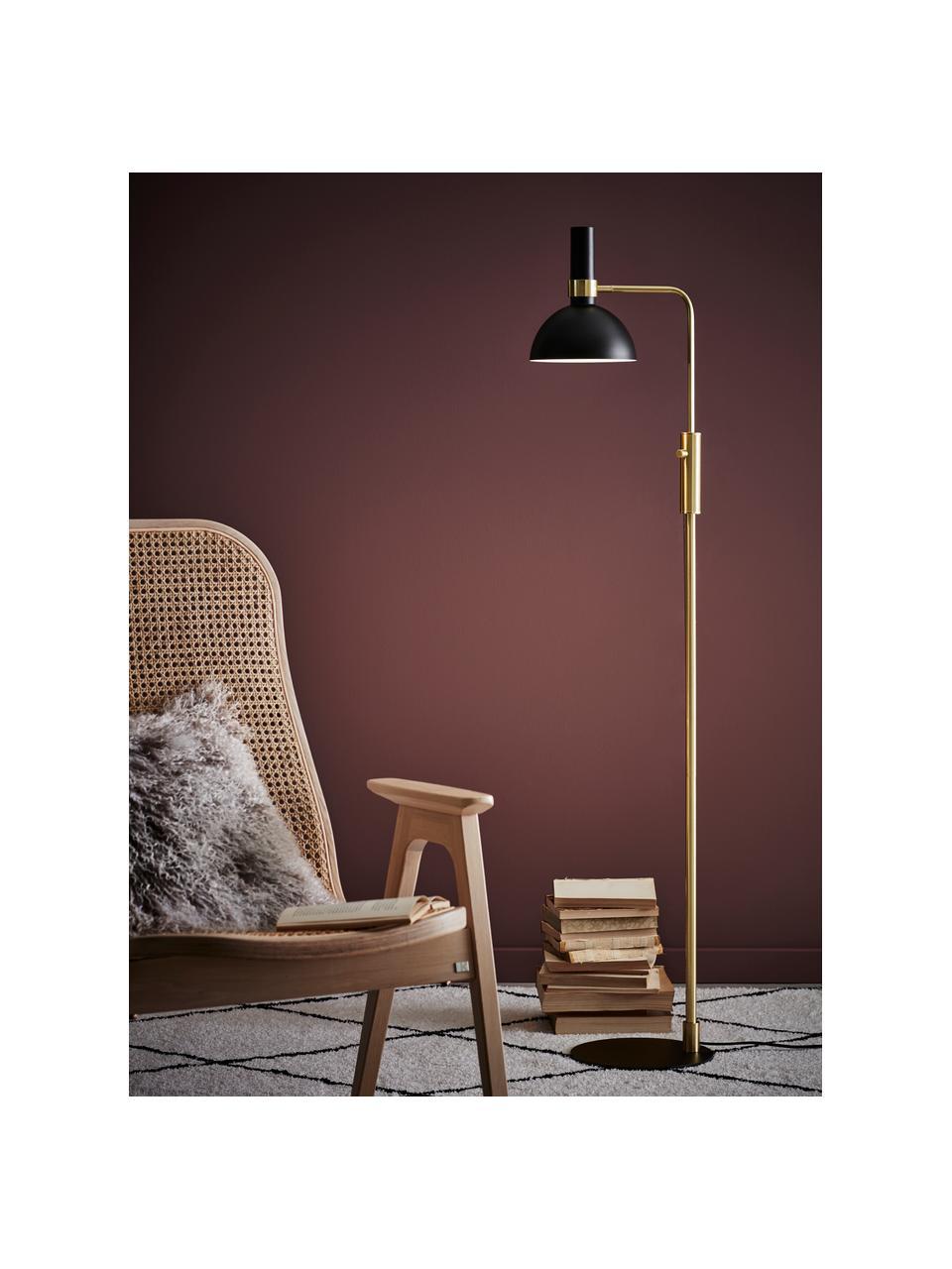 Lampa do czytania z metalu z funkcją przyciemniania Larry, Stelaż: mosiądz, Czarny, mosiądz, S 33 x W 146 cm