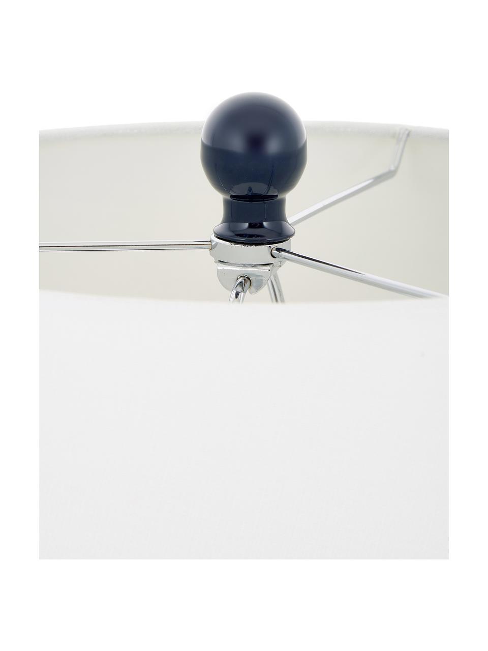 Große Tischlampen Felicitas, 2 Stück, Lampenschirm: Baumwolle, Lampenfuß: Glas, lackiert, Sockel: Metall, Blau, Ø 35 x H 58 cm